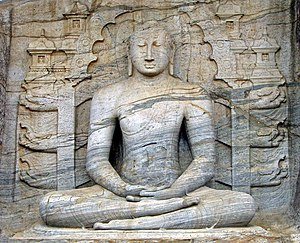 Gal Vihara - The seated image, which depicts the dhyana mudra, shows signs of Mahayana influence.