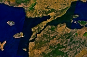 Satellite image of the Thracian Chersonese (now known as the Gallipoli Peninsula) and surrounding area. Alcibiades traveled to the Chersonese in 408 BC and attacked the city of Selymbria on the north shore of the Propontis.