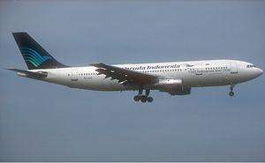 Garuda Indonesia Flight 152 - A Garuda Indonesia Airbus A300 similar to the aircraft involved in the accident.
