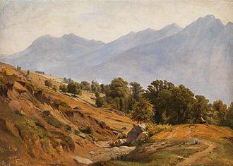 Louis Gurlitt - Image: Gebirgslandschaft der Gegend von Dorf Tirol