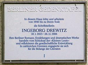 Ingeborg Drewitz - Commemorative plaque in Berlin-Zehlendorf