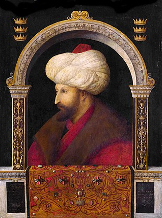 Mehmed the Conqueror - Portrait of Sultan Mehmet II, 1480, by Gentile Bellini (1429–1507), oil on canvas and perhaps transferred from wood, 69.9 x 52.1 cm. Now at the National Portrait Gallery in the UK.