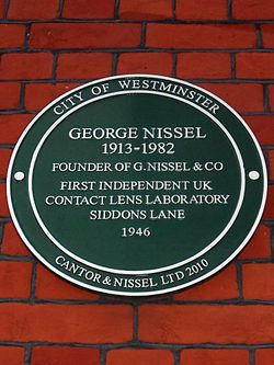 George nissel 1913 1982 founder of g.nissel %26 co first independent uk contact lens laboratory siddons lane 1946