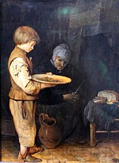 Old Woman and Boy Take a Modest Meal