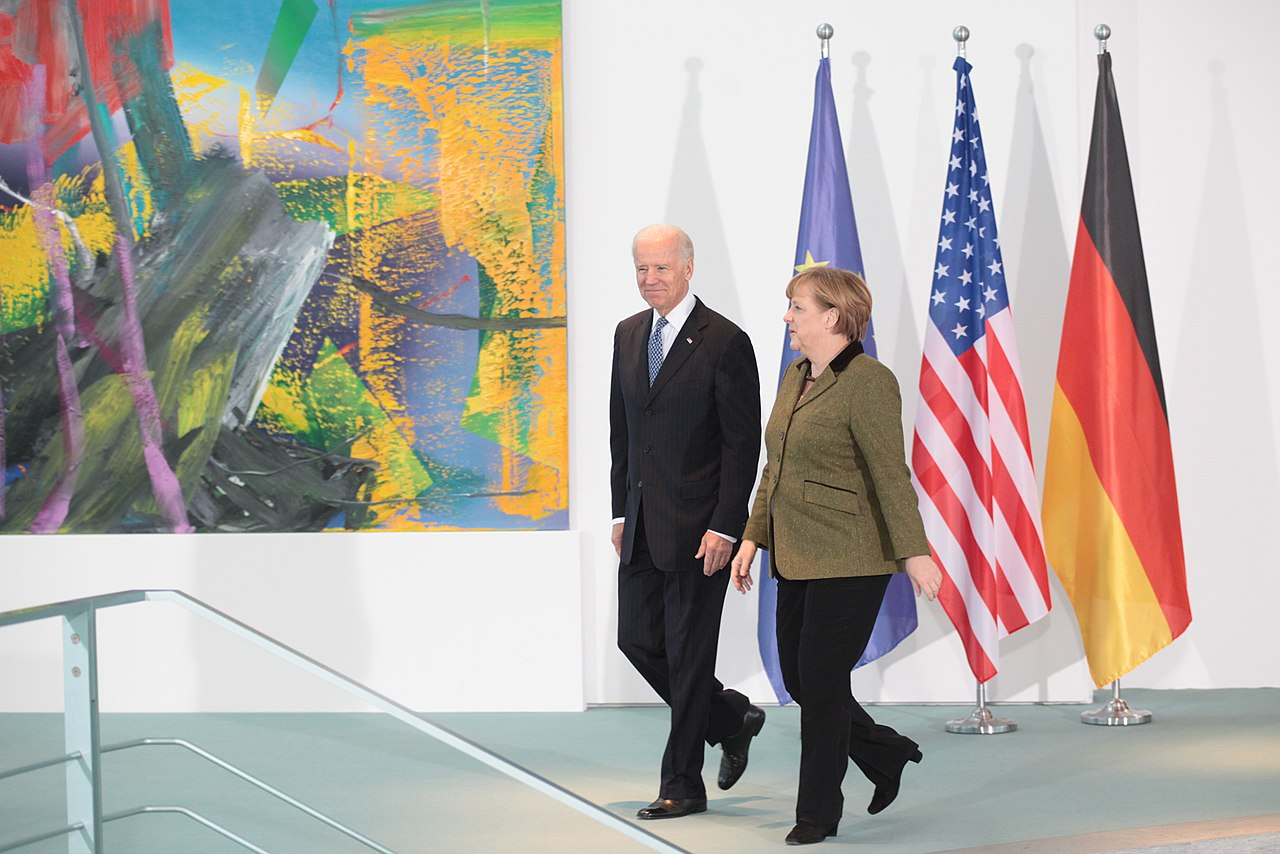 German Chancellor Angela Merkel welcomes Vice President Joe Biden and walks with him before making brief remarks on arrival at the Chancellery (8446827365).jpg