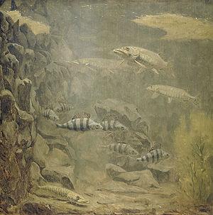 Gerrit Willem Dijsselhof - Pike and Perch in an Aquarium