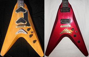 Gibson Flying V - Image: Gibson V2 guitars, left 1979, right 1982