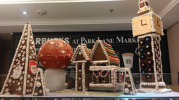 gingerbread house and elizabeth tower in london united kingdom - Gingerbread House Christmas Decorations
