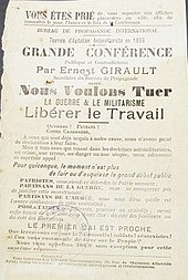 Una gira de agitación antimilitarista en 1906. Una importante conferencia pública y contradictoria de Ernest Girault.