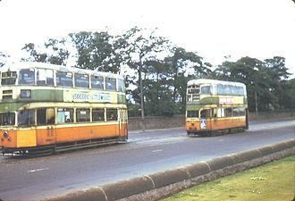 Braidfauld - Trams at Auchenshuggle terminus in June 1962