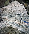 Gneiss (Archean; Windy Lake Northwest roadcut, Sudbury Impact Structure, Ontario, Canada) 3 (47735880591).jpg