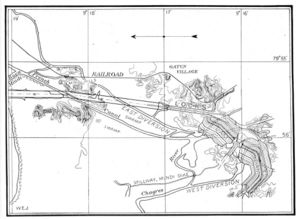 Gatun Dam - This map from the construction era illustrates the area around the dam and locks, which are shown superposed over the previous French excavations.