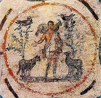 Early Christian art and architecture - Good Shepherd from the Catacomb of Priscilla, 250–300