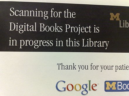 Notice about the project at Michigan University Library Google Book Search - notice board at michigan university library.jpg