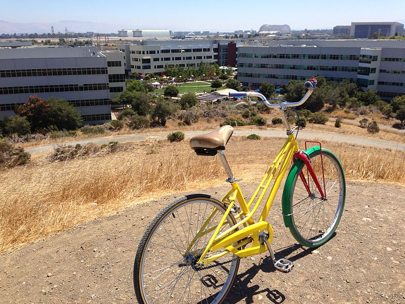 File:Google bike on Crittenden Hill overlooking Google campus and NASA Ames.jpg