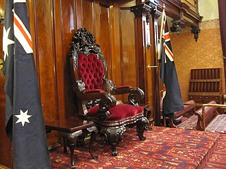 New South Wales Legislative Council - The Governor's Chair in the Legislative Council chamber