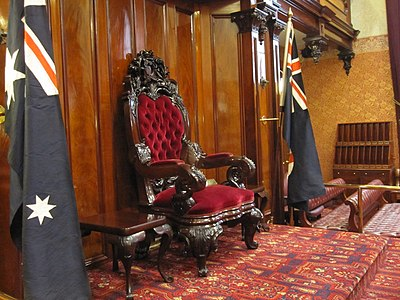 The Governor's Chair in the Legislative Council chamber