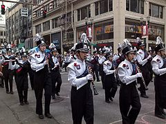 Every Rose Festival parade includes several marching bands.