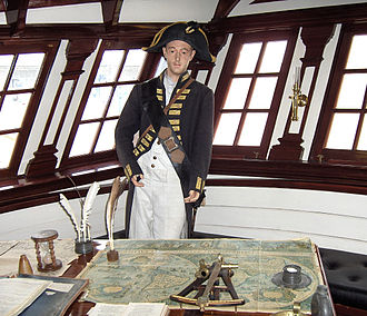 Cabin (ship) - Great cabin on the Grand Turk, a replica of a three-masted English 18th century-frigate.