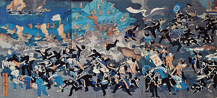 Ukiyo-E, depicting the retreat of shogunate forces in front of the Imperial Army (Kangun). Yodo Castle is shown in the background. Great victory of Kangun Imperial forces.jpg