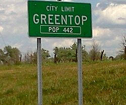 City limits sign. Greentop, Missouri.
