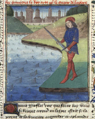 Griflet - Giflet throwing Excalibur into the lake in a 1470 illustration for the 13th-century French chivalric romance La Mort du roi Arthur