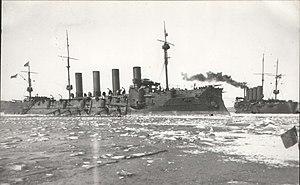 Russian cruiser Gromoboi - Gromoboi (left) and Rossia in Vladivostok
