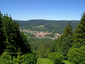 Großer Beerberg - View of Großer Beerberg from the south; in the foreground is Suhl-Goldlauter