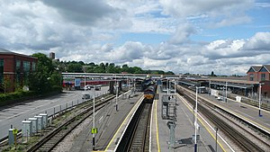 Guildford (Surrey) railway station - Guildford Station, looking north (from Farnham Road road bridge)