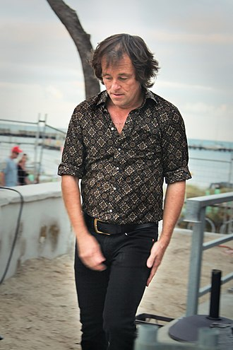 Hoodoo Gurus - Guitarist and singer-songwriter Brad Shepherd backstage at Hotel Rottnest, April 2012