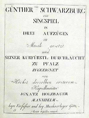 Günther von Schwarzburg (opera) - First page of the Günther von Schwarzburg score published by Johann Michael Götz in 1777