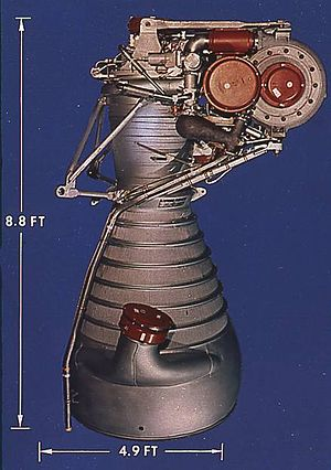 Rocketdyne H-1 - A cluster of 8 H-1 rocket engines lifted the Saturn I from the launch pad.