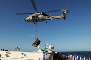 Carrier Strike Group 7 - A Navy HH-60 delivers supplies to Carnival Splendor on 9 November 2010