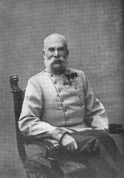 Emperor Franz Joseph was 84 years old in 1914. Though disturbed by the murder of his heir, Franz Joseph largely left decision-making during the July Crisis to foreign minister Leopold Berchtold, army chief of staff Franz Conrad von Hotzendorf, and the other ministers. HIM the Emperor of Austria and King of Hungary 1914 Pietzner.jpg