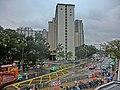 HK 上水 Sheung Shui 彩園邨 Choi Yuen Estate name sign 彩園路 Choi Yuen Road Feb-2014 view from MTR Station rainy day.JPG