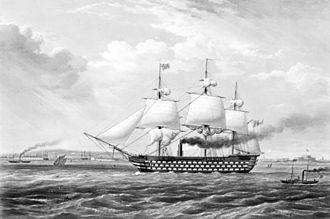 HMS Duke of Wellington (1852) - HMS Duke of Wellington in 1853, running under steam and sail - smoke may be seen issuing from her central funnel.
