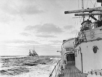 Battle of the River Plate - December 1939, HMS Achilles as seen from HMS Ajax during the Battle of the River Plate. Note the charred paint on the gun barrels.