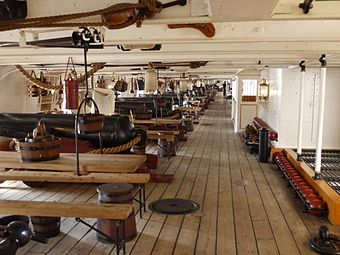 The conventional broadside of 68-pounders on HMS Warrior of 1860 HMs warrior1860gundeck.JPG