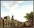 HUA-36469-Gezicht vanaf de singel over de stadsbuitengracht te Utrecht uit het noordwesten met de wal en de Catharijnepoort en brug en daarachter de molen De Fo.jpg