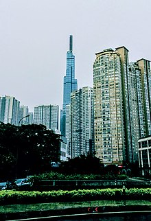 Photograph of Vietnam's tallest skyscraper, the Landmark 81, located in Bình Thạnh District in Ho Chi Minh City