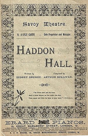 Haddon Hall (opera) - Programme for Haddon Hall from 1893