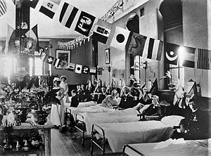 Liverpool Homeopathic Hospital - A ward at the Liverpool Homeopathic Hospital, possibly decorated for the coronation of George V on 1910