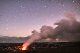 Halemaumau Crater glows under the clear sky.jpg