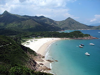 Sai Kung East Country Park - Ham Tin Wan beach with Sharp Peak in the background (top left)