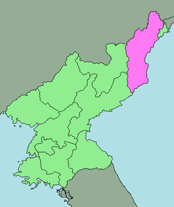 Location of North Hamgyong Province