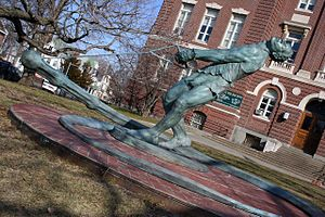 Hal Connolly - This bronze statue of Connolly, located at the former Taft Middle School in Brighton, Massachusetts, was installed in December 2005.