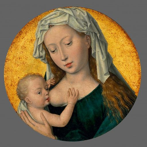 Hans Memling , The Virgin Mary nursing the Christ Child. Oil and gold on panel, circular, (17.4 cm.) diameter. Christie's