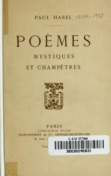 File:Harel - Poèmes mystiques et champêtres, Plon-Nourrit.djvu