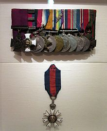 A group of eleven court mounted military medals are displayed in the top half, while a solitary twelfth (the CMG – worn around the neck) hangs below.