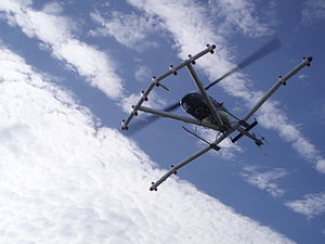 Magnetic anomaly - This helicopter is equipped with a magnetometer array. It flies six feet above ground at speeds of 30 to 40 mph.